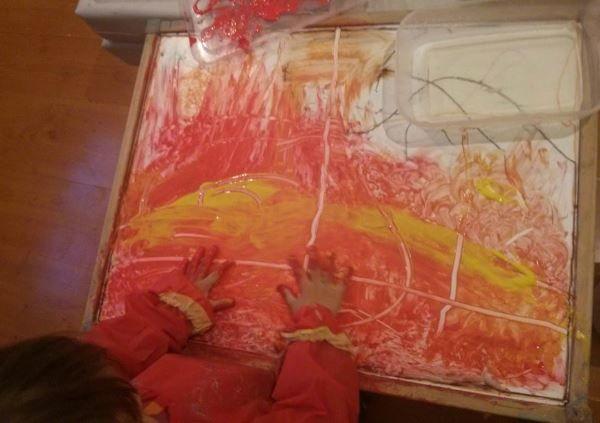 Malování poploše stolu